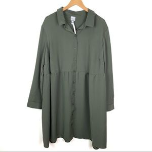 ASOS Curve | Green Flowy Button Down Smock Dress